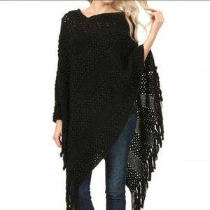 Riah Fashion Black fringe crochet knit poncho